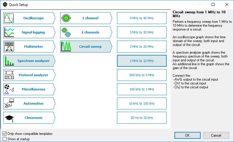 Quick setup dialog
