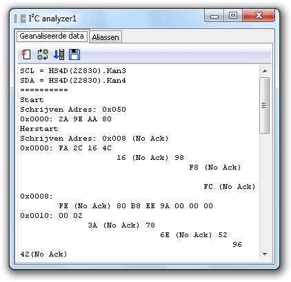 Verkeerd gedecodeerde I²C-signalen