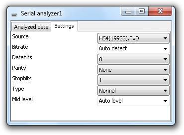 Serial analyzer settings window