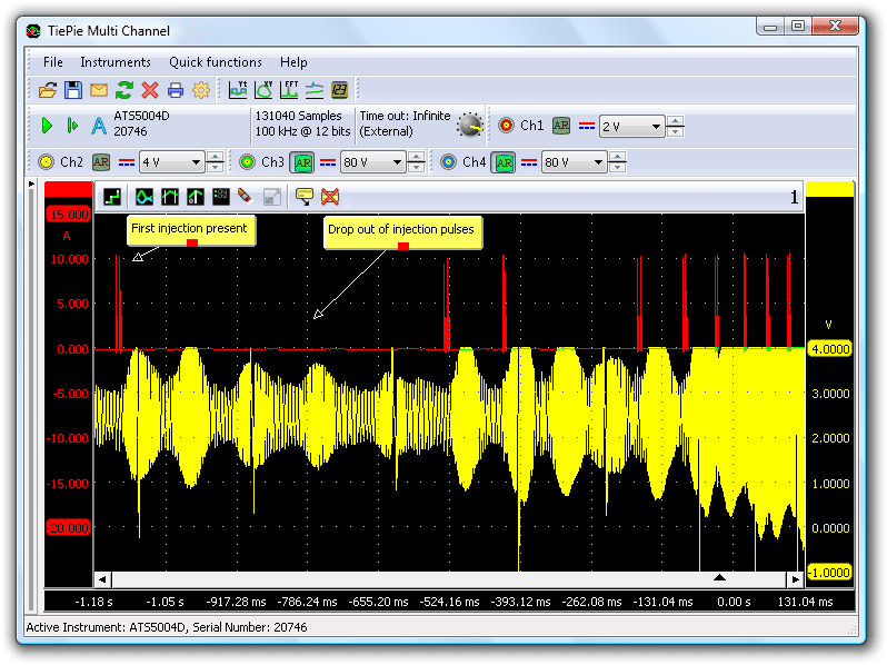 When injector signal and crankshaft sensor signal are compared, the problem becomes visible.