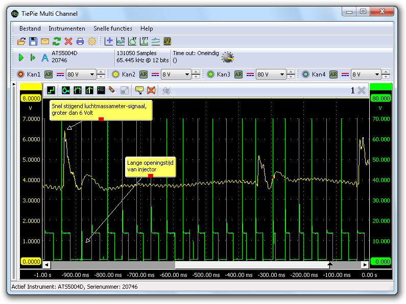 Luchtmassametersignaal en injectiesignaal tijdens inhouden motor
