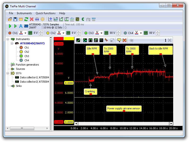Lab scope measurement of air vane sensor