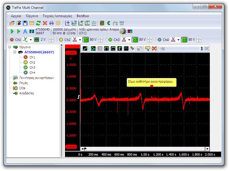Μέτρηση του αισθητήρα εκκεντροφόρου με παλμογράφο, κατά την περιστροφή της μίζας
