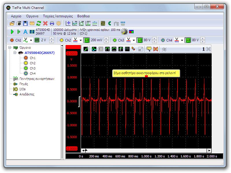 Μέτρηση με παλμογράφο του αισθητήρα εκκεντροφόρου σε στροφές ρελαντί του κινητήρα