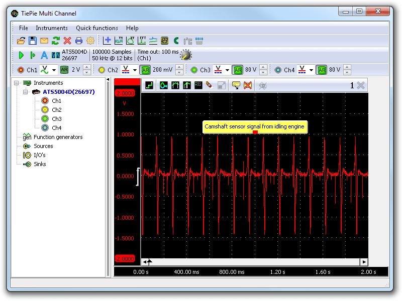 Lab scope measurement of camshaft sensor on idling engine