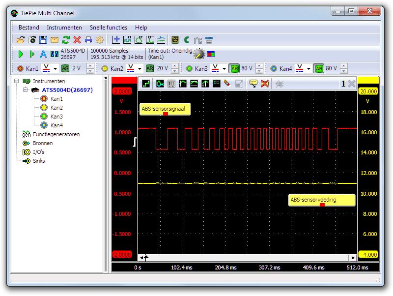 Labscoopmeting aan een 2-draads Hall-effect-ABS-sensor