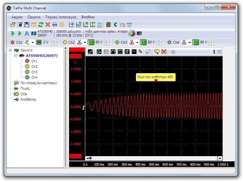 Μέτρηση με παλμογράφο ενός επαγωγικού αισθητήρα ABS