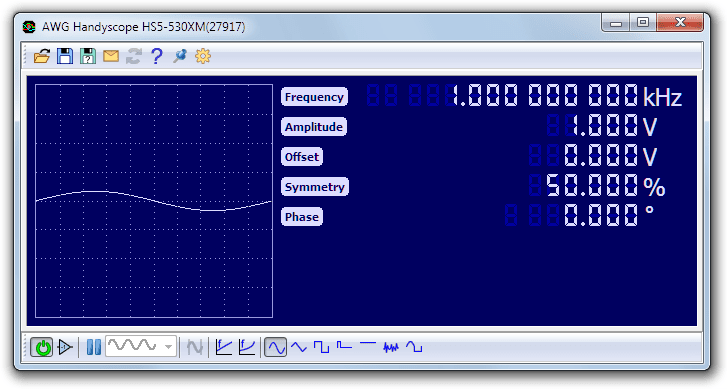 Extended Arbitrary waveform generator control window.
