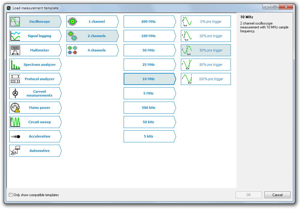 Measurement template selection dialog