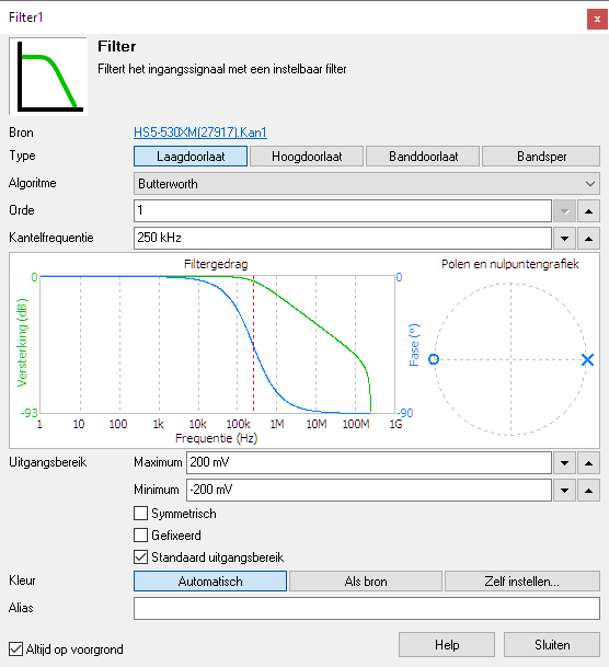 Filter I/O instellingenscherm