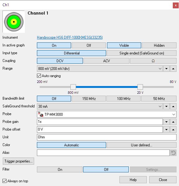 Channel settings window