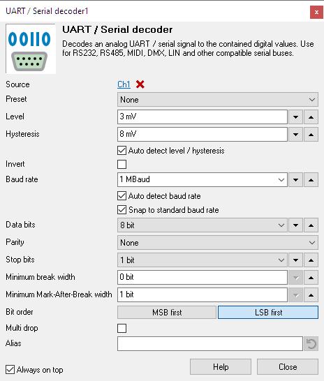 UART / Serial decoder I/O settings window