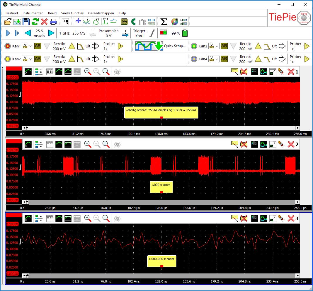 Hetzelfde signaal gelijktijdig bekeken met verschillende zoom-factoren tot 1.000.000