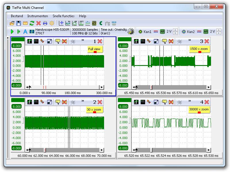 Hetzelfde signaal gelijktijdig bekeken met verschillende zoom-factoren tot 30000