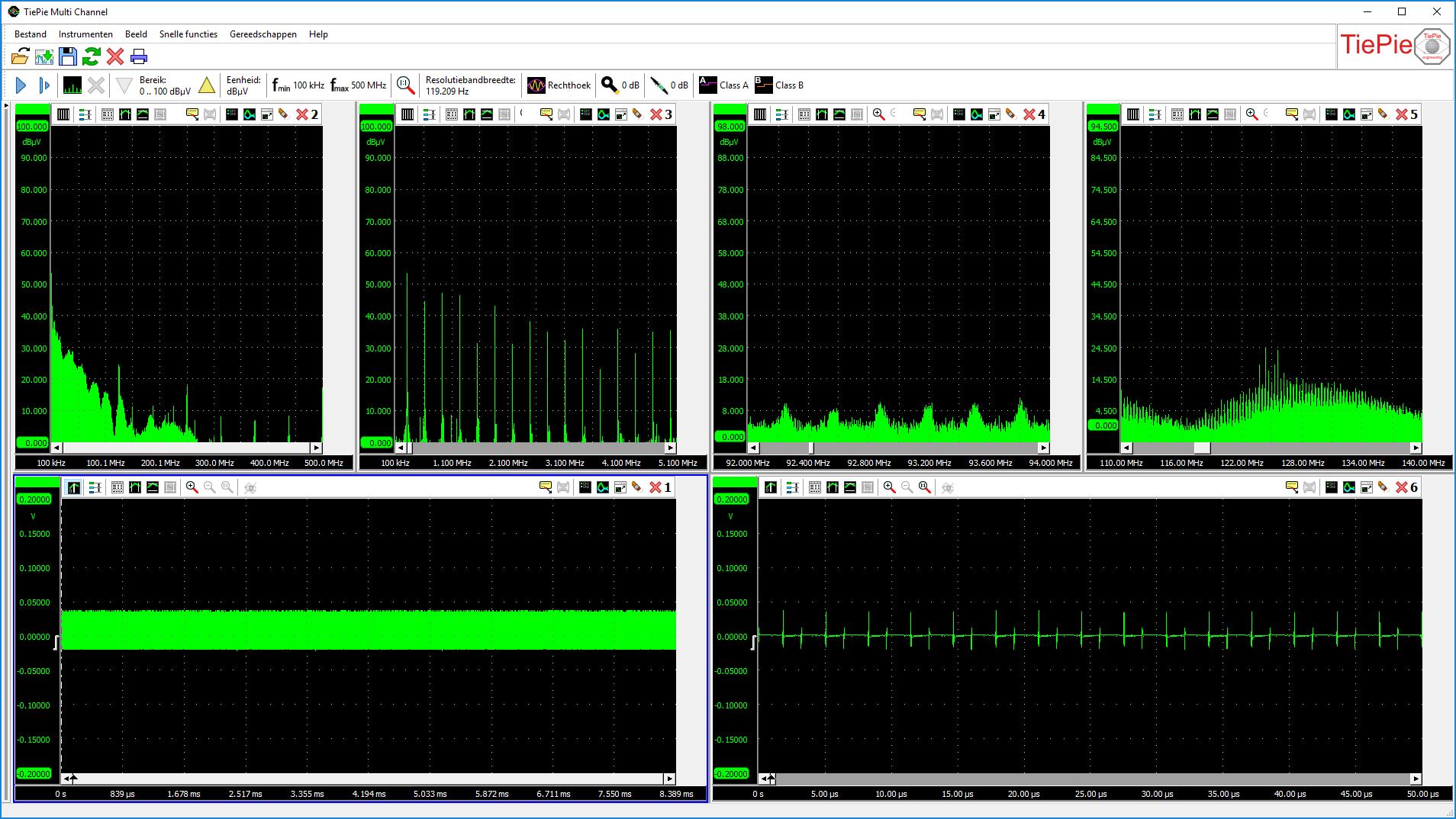 Boven: een volledig spectrum van 0Hz tot 500MHz en 3 schermen met uitvergrote delen van het           live spectrum. Onder: het volledige tijddomeinsignaal en een uitvergroot deel van het tijddomeinsignaal,           live met het spectrum.