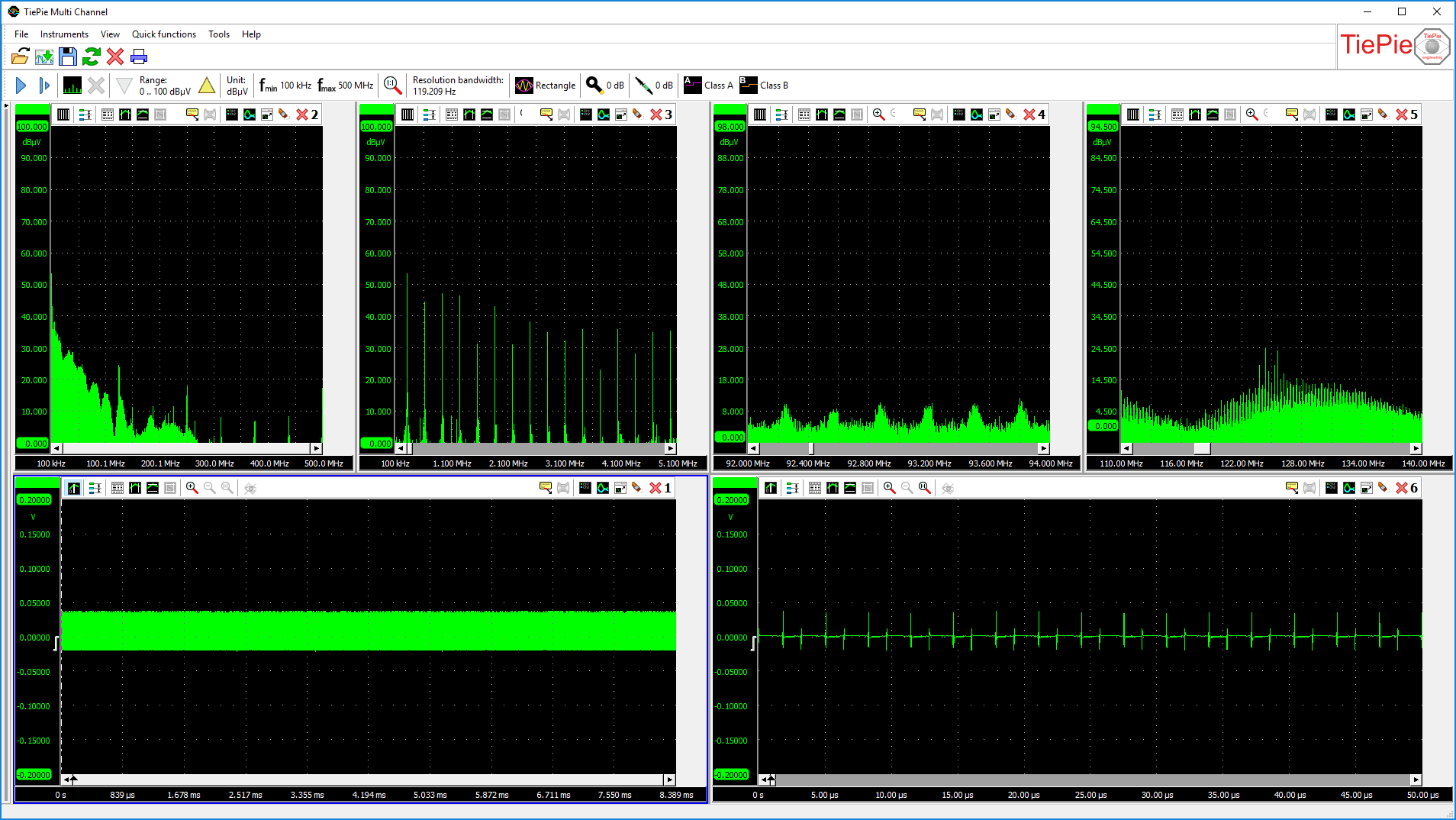 Above: a total spectrum from 0 Hz to 500 MHz and 3 displays with magnified parts of the live spectrum.           Below: the total time domain signal and a magnified part of the time domain signal, live with the spectrum.