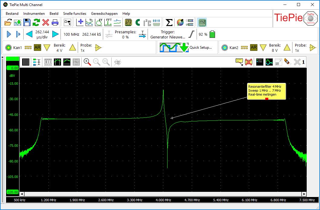 WS5 oscilloscoopmeting van een resonantiefilter gevoed met een sweep van 1MHz tot 7MHz vanuit een WiFiScope WS5 generator.