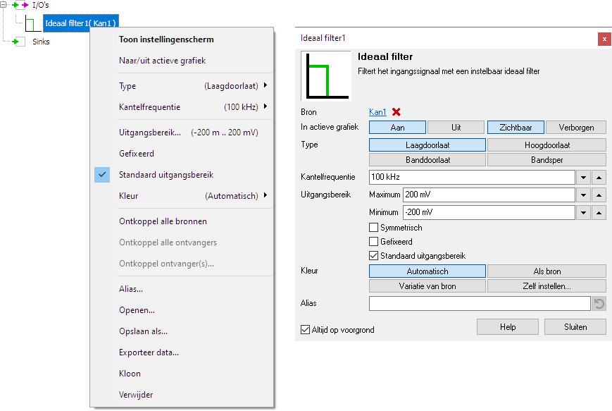 Ideaal filter-bediening