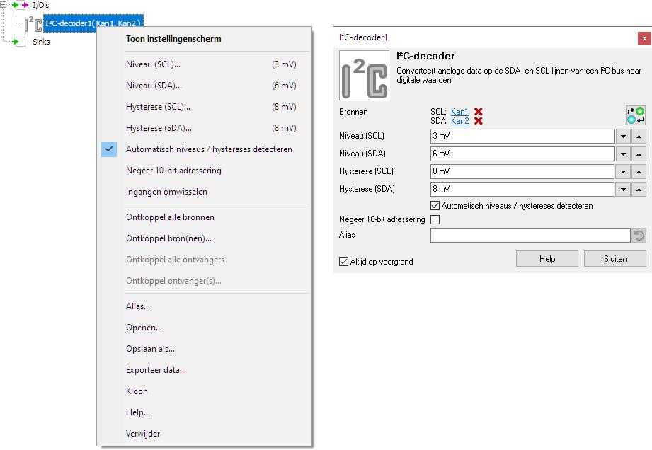 I2C decoder control