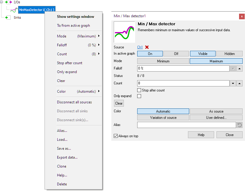 Min / Max detector control