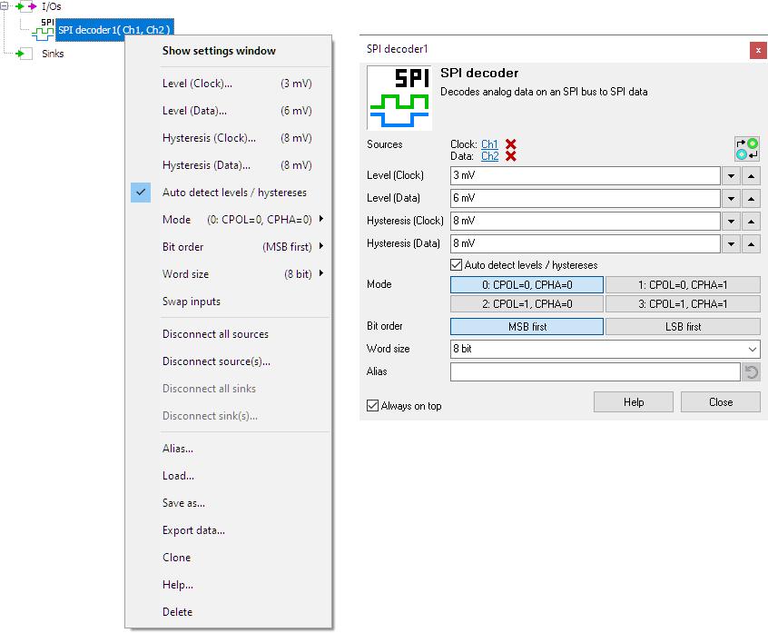 SPI decoder control