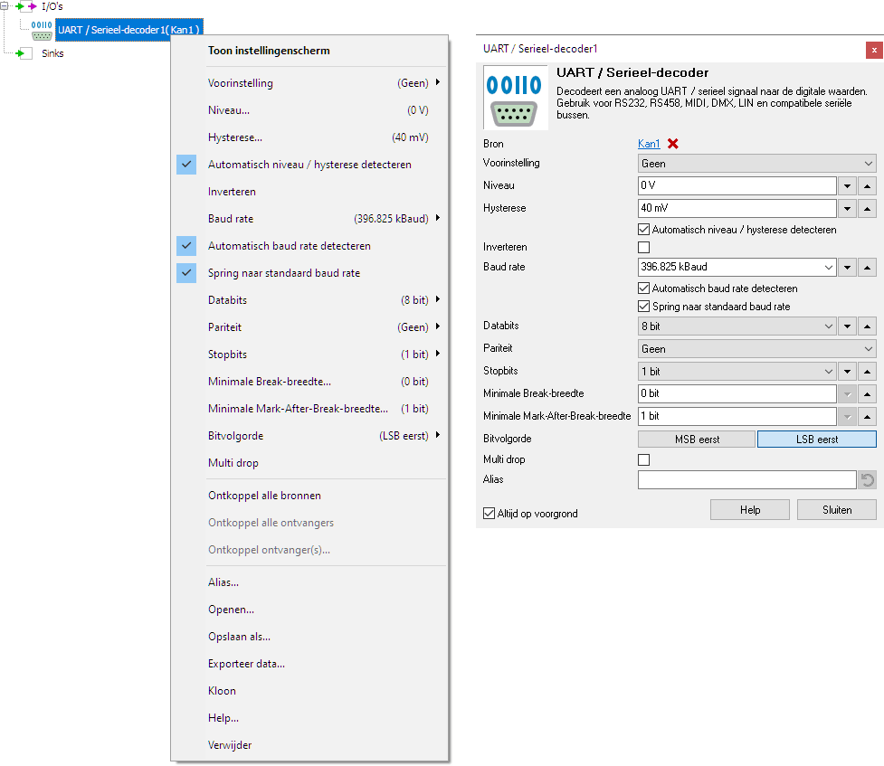 UART / Serial decoder control