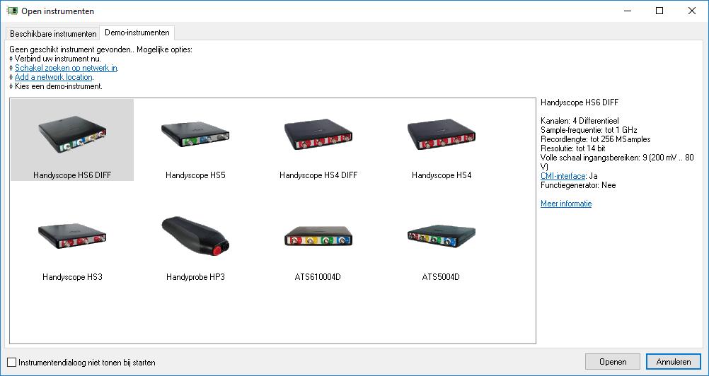 Demo-instrument-selectiedialog
