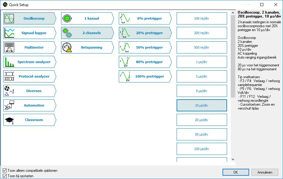 Quick setup scherm