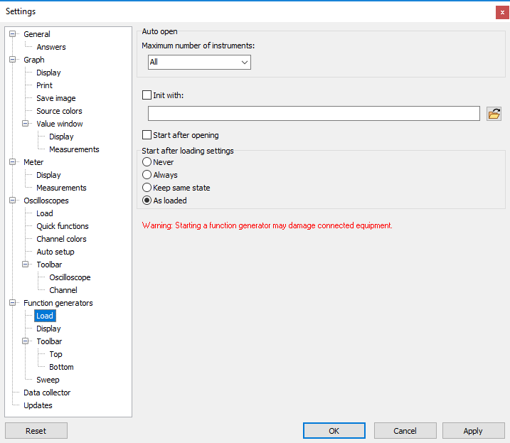 Settings dialog - Function generators - Load. (Click on a category to get more information.)