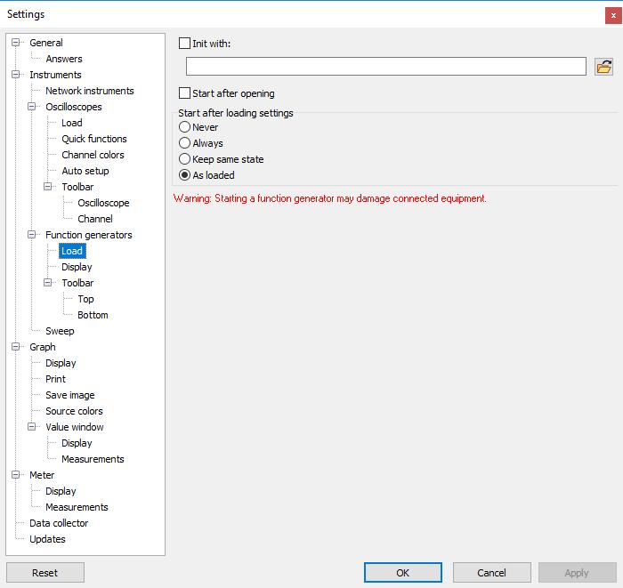 Settings dialog - Instruments - Function generators - Load.