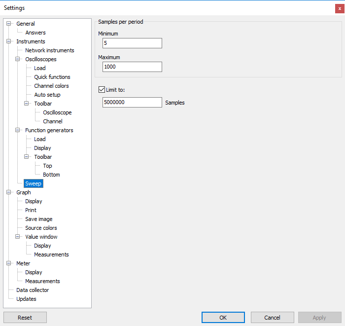 Settings dialog - Instruments - Function generators - Sweep.