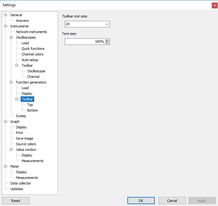 Settings dialog - Instruments - Function generators - Toolbar.