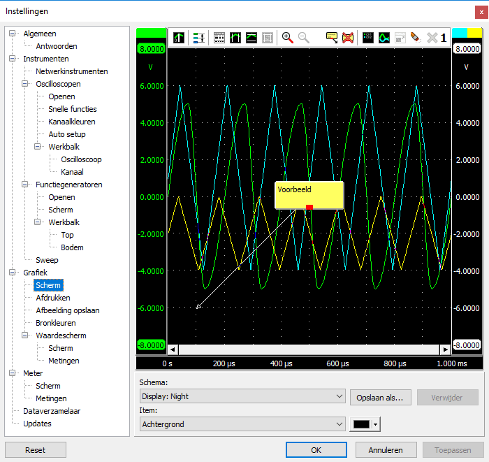 Instellingenscherm - Grafiek - Scherm.