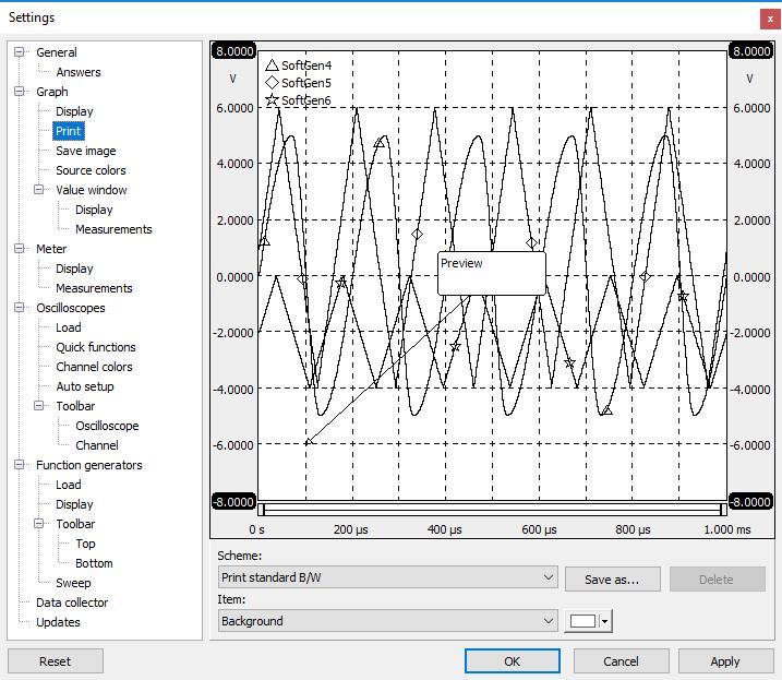 Settings dialog - Graph - Print.