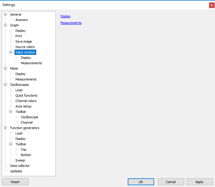 Settings dialog - Graph - Value window.