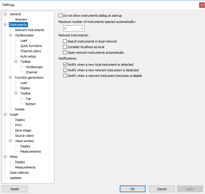 Settings dialog - Instruments.