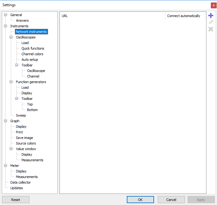 Settings dialog - Instruments - Network instruments.