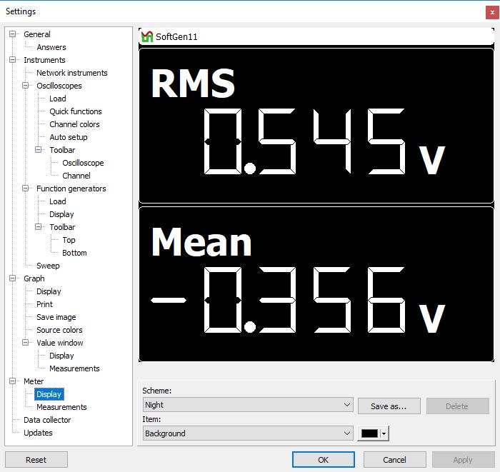 Settings dialog - Meter - Display.