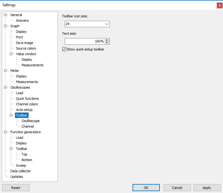 Settings dialog - Oscilloscopes - Toolbar.