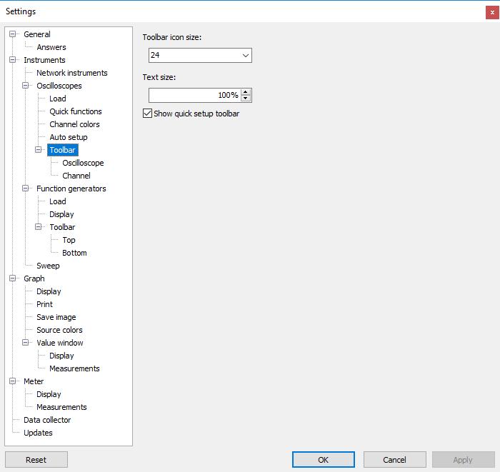 Settings dialog - Instruments - Oscilloscopes - Toolbar.