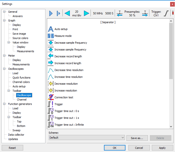 Settings dialog - Oscilloscopes - Toolbar - Oscilloscope.
