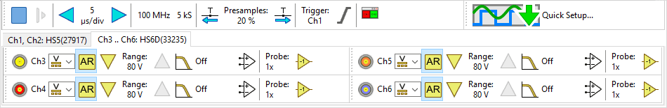 Tabbed channel toolbars in a combined instrument.